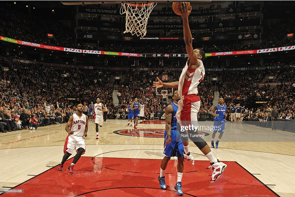 Rudy Gay #22 of the Toronto Raptors drives to the basket against the Los Angeles Clippers on February 1, 2013 at the Air Canada Centre in Toronto, Ontario, Canada.