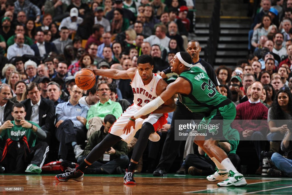 Rudy Gay #22 of the Toronto Raptors drives to the basket against the Boston Celtics on March 13, 2013 at the TD Garden in Boston, Massachusetts.