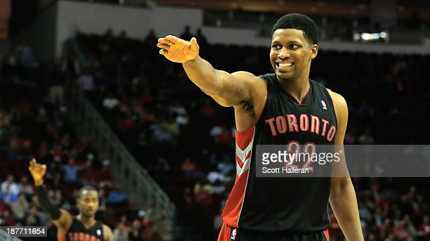 Rudy Gay of the Toronto Raptors fights for a call during the game against the Houston Rockets at Toyota Center on November 11 2013 in Houston Texas...