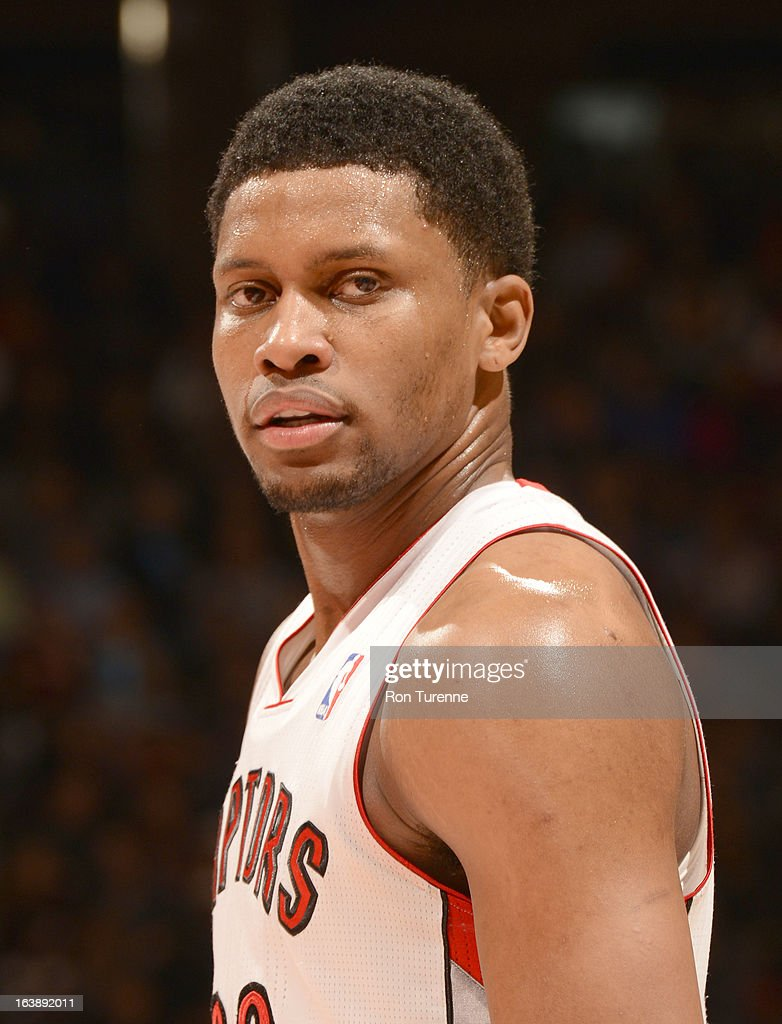Rudy Gay #22 of the Toronto Raptors looks on during the game between the Toronto Raptors and the Miami Heat on March 17, 2013 at the Air Canada Centre in Toronto, Ontario, Canada.