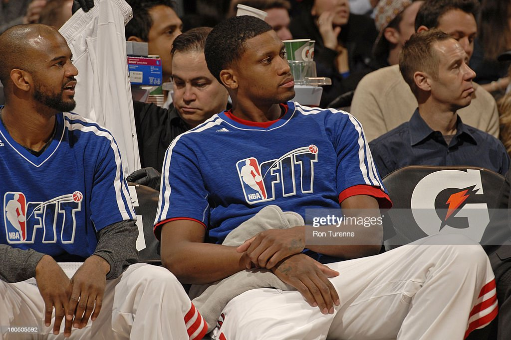 Rudy Gay #22 of the Toronto Raptors sits on the bench during the game against the Los Angeles Clippers on February 1, 2013 at the Air Canada Centre in Toronto, Ontario, Canada.