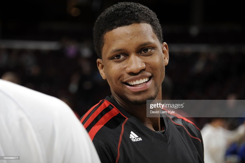Rudy Gay #22 of the Toronto Raptors smiles before the game against the Cleveland Cavaliers at The Quicken Loans Arena on February 27, 2013 in Cleveland, Ohio.