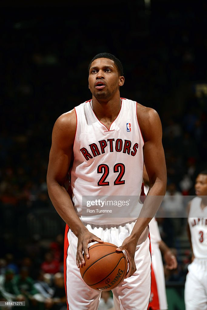 Rudy Gay #22 of the Toronto Raptors takes a foulshot against the Boston Celtics during the game on February 6, 2013 at the Air Canada Centre in Toronto, Ontario, Canada.