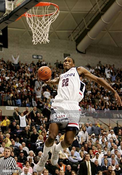 Rudy Gay of the University of Connecticut Huskies dunks against St Johns University January 25 2006 at the Gampel Pavilion in Storrs Connecticut