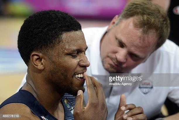 Rudy Gay of USA reacts as he injured during 2014 FIBA World Basketball Championship SemiFinal basketball match between USA and Lithuania at Palau...