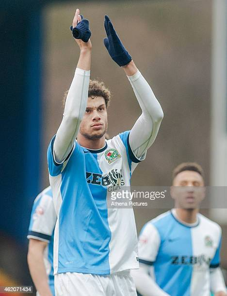 Rudy Gestede applauds fans as he leaves the field during the FA Cup Fourth Round match between Blackburn Rovers and Swansea City at Ewood park on...