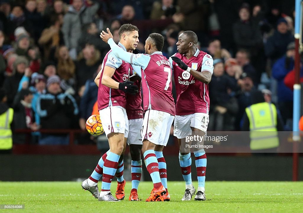 Rudy Gestede of Aston Villa celebrates after scoring to make it 1-1 during the Premier League match between Aston Villa and Leicester City at Villa Park on January 16, 2016 in Birmingham, United Kingdom.