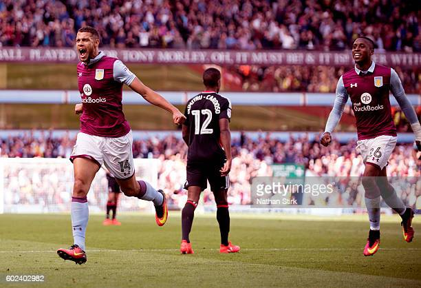 Rudy Gestede of Aston Villa celebrates his goal during the Sky Bet Championship match between Aston Villa and Nottingham Forest at Villa Park on...
