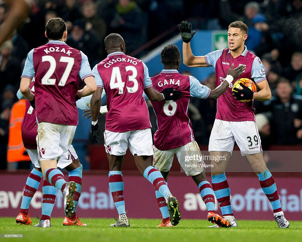 Rudy Gestede of Aston Villa celebrates his goal for Aston Villa during the Barclays Premier League match between Aston Villa and Leicester City at Villa Park on January 16, 2016 in Birmingham, England.