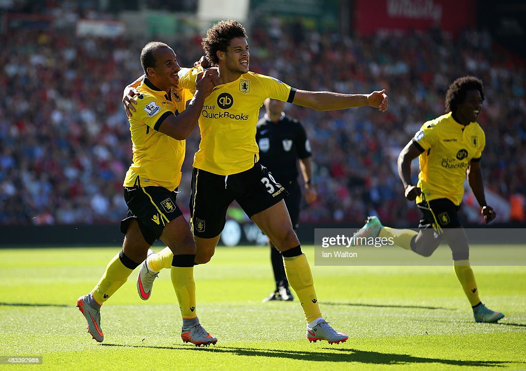 Rudy Gestede (C) of Aston Villa celebrates scoring his team's first goal with his team mates Gabriel Agbonlahor (L) and Carlos Sanchez (R) during the Barclays Premier League match between A.F.C. Bournemouth and Aston Villa at Vitality Stadium on August 8, 2015 in Bournemouth, England.