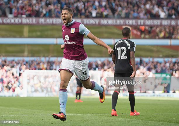 Rudy Gestede of Aston Villa celebrates scoring their teams second goal during the Sky Bet Championship match between Aston Villa and Nottingham...