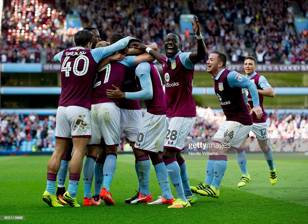 Rudy Gestede of Aston Villa scores for Aston Villa during the Sky Bet Championship match between Aston Villa and Nottingham Forest at Villa Park on September 11, 2016 in Birmingham, England.