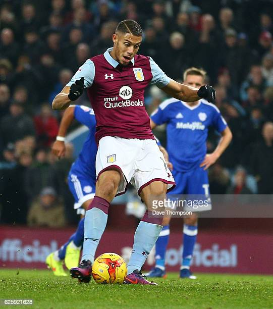 Rudy Gestede of Aston Villa scores his sides third goal during the Sky Bet Championship match between Aston Villa and Cardiff City at Villa Park on...