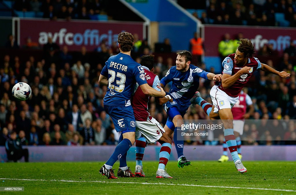 Rudy Gestede of Aston Villa scores their first goal during the Capital One Cup third round match between Aston Villa and Birmingham City at Villa Park on September 22, 2015 in Birmingham, England.