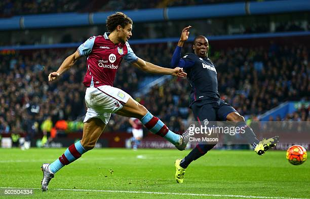 Rudy Gestede of Aston Villa takes a shot at goal during the Barclays Premier League match between Aston Villa and West Ham United at Villa Park on...