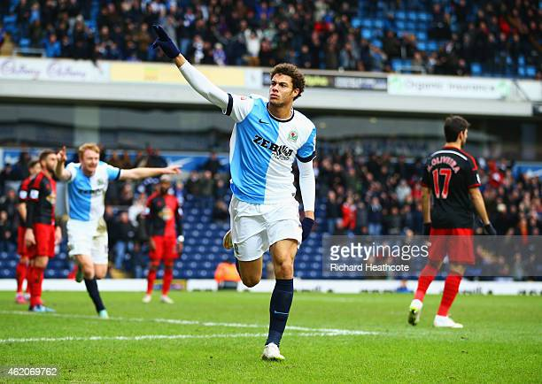 Rudy Gestede of Blackburn Rovers celebrates as he scores their second goal during the FA Cup Fourth Round match between Blackburn Rovers and Swansea...