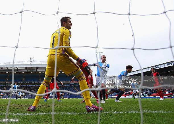 Rudy Gestede of Blackburn Rovers celebrates as he scores their second goal past goalkeeper Lukasz Fabianski of Swansea City during the FA Cup Fourth...
