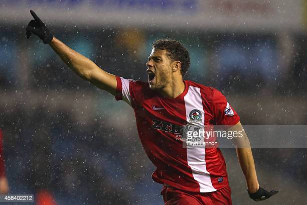Rudy Gestede of Blackburn Rovers celebrates scoring their second goal during the Sky Bet Championship match between Millwall and Blackburn Rovers at...