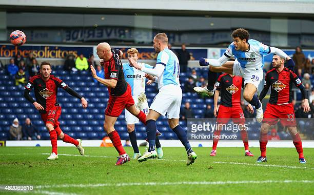 Rudy Gestede of Blackburn Rovers scores their second goal during the FA Cup Fourth Round match between Blackburn Rovers and Swansea City at Ewood...