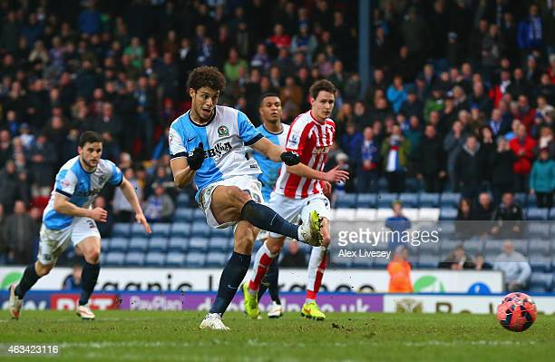 Rudy Gestede of Blackburn scores their second goal from the penalty spot during the FA Cup Fifth Round match between Blackburn Rovers and Stoke City...