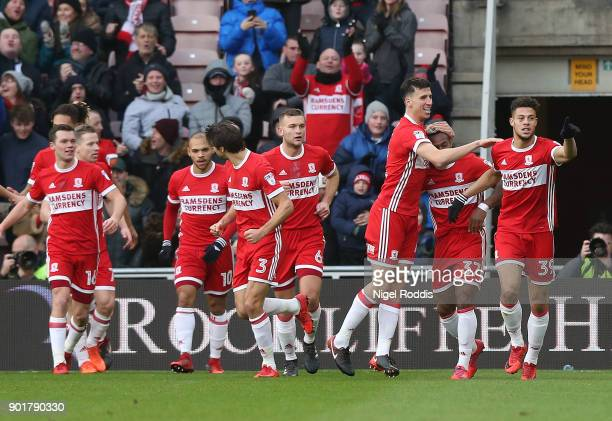 Rudy Gestede of Middlesbrough celebrates scoring during The Emirates FA Cup Third Round match between Middlesbrough and Sunderland at the Riverside...