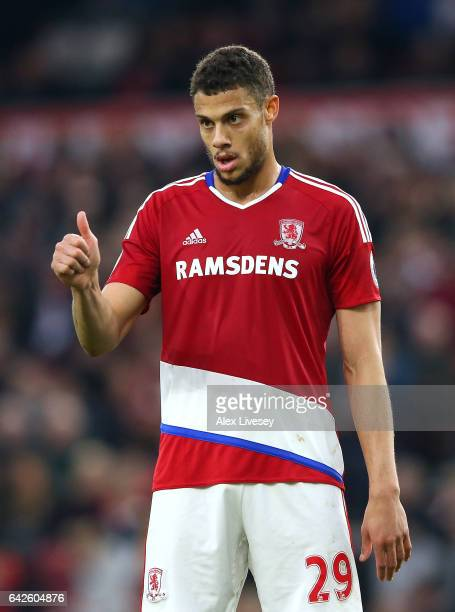 Rudy Gestede of Middlesbrough celebrates scoring his sides second goal during The Emirates FA Cup Fifth Round match between Middlesbrough and Oxford...