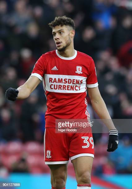 Rudy Gestede of Middlesbrough during The Emirates FA Cup Third Round match between Middlesbrough and Sunderland at the Riverside Stadium on January 6...