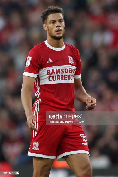 Rudy Gestede of Middlesbrough during the Sky Bet Championship match between Middlesbrough and Burton Albion at Riverside Stadium on August 15 2017 in...