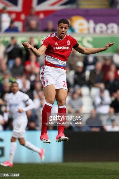Rudy Gestede of Middlesbrough has now gone 39 Premier League games without a win during the Premier League match between Swansea City and...