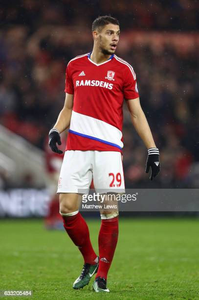 Rudy Gestede of Middlesbrough in aciton during the Premier League match between Middlesbrough and West Bromwich Albion at Riverside Stadium on...