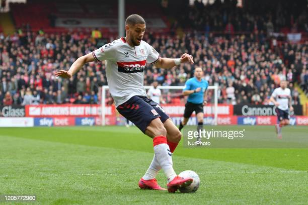 Rudy Gestede of Middlesbrough in action during the Sky Bet Championship match between Charlton Athletic and Middlesbrough at The Valley London on...