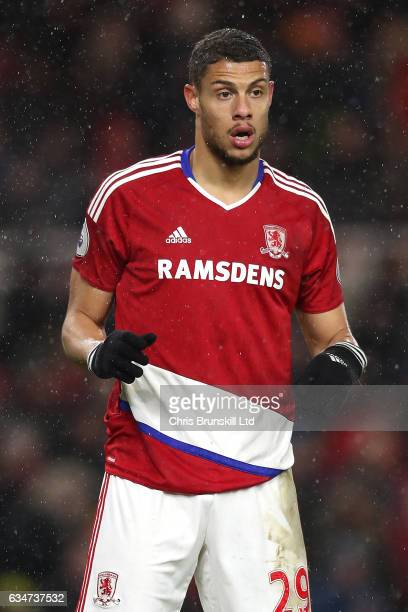 Rudy Gestede of Middlesbrough looks on during the Premier League match between Middlesbrough and Everton at Riverside Stadium on February 11 2017 in...