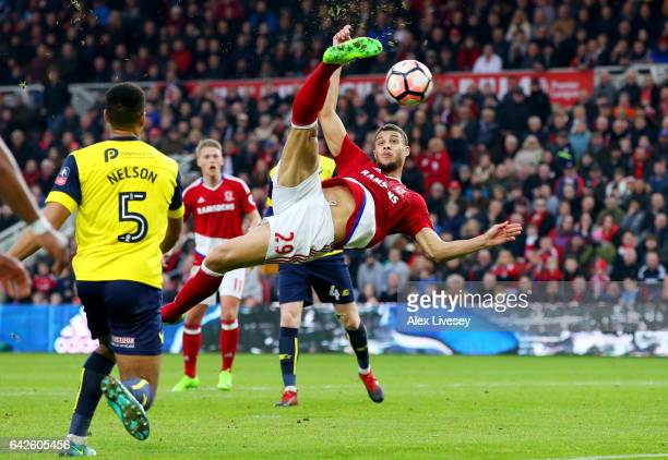 Rudy Gestede of Middlesbrough scores his sides second goal during The Emirates FA Cup Fifth Round match between Middlesbrough and Oxford United at...