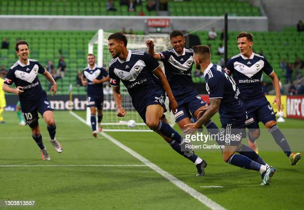 Rudy Gestede of the Victory celebrates after scoring a goal during the A-League match between the Melbourne Victory and the Wellington Phoenix at...