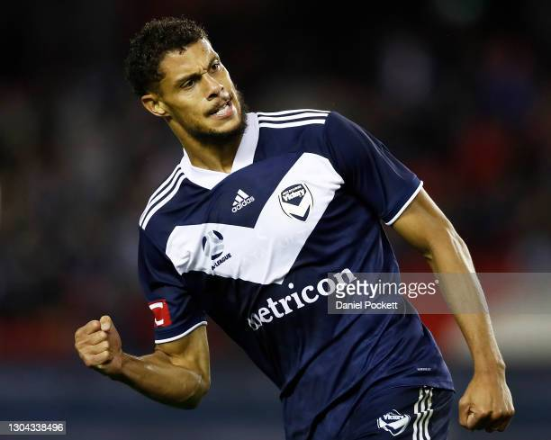 Rudy Gestede of the Victory celebrates after scoring a goal during the A-League match between the Melbourne Victory and Western United at Marvel...