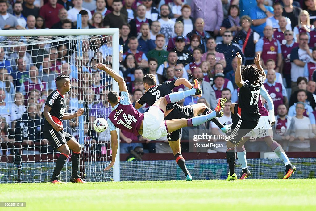 Rudy Gestede of Villa scores to make it 2-1 during the Sky Bet Championship match between Aston Villa and Nottingham Forest at Villa Park on September 11, 2016 in Birmingham, England.