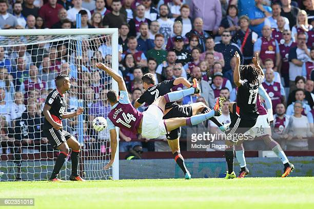 Rudy Gestede of Villa scores to make it 21 during the Sky Bet Championship match between Aston Villa and Nottingham Forest at Villa Park on September...