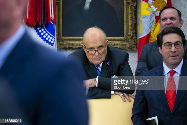 Rudy Giuliani former mayor of New York listens while US President Donald Trump not pictured hosts the 2018 National Hockey League Stanley Cup...