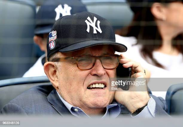 Rudy Giuliani former New York City mayor and current lawyer for President Donald Trump attends the game between the New York Yankees and the Houston...