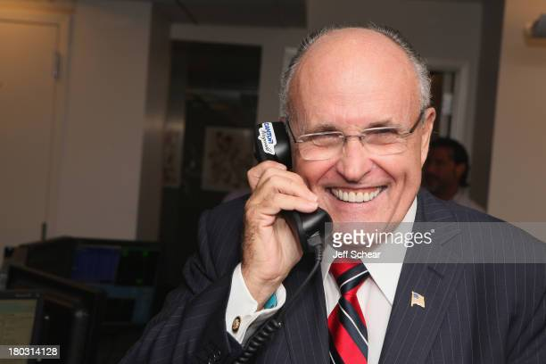 Rudy Giuliani fundraises at the Annual Charity Day Hosted By Cantor Fitzgerald And BGC at the Cantor Fitzgerald Office on September 11 2013 in New...