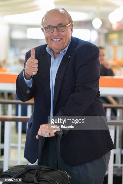 Rudy Giuliani is seen at the airport on August 18 2019 in New York City