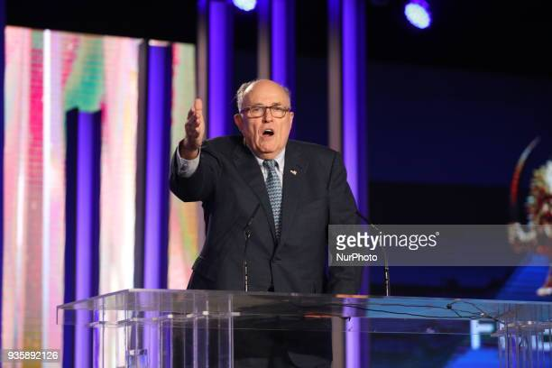 Rudy Giuliani makes a speech during celebration of Nowruz the Iranian New Year on March 20 there was a gathering of Iranians Resistance and...