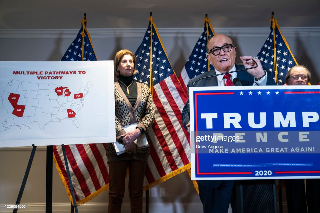 Rudy Giuliani And Trump Legal Advisor Hold Press Conference At RNC HQ : News Photo