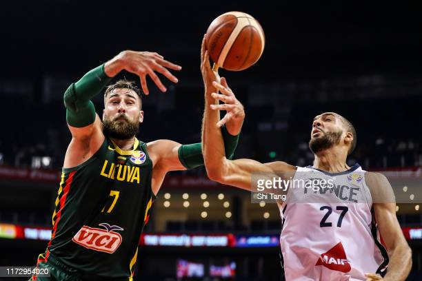 Rudy Gobert of France in action against Jonas Valanciunas of Lithuania during 2nd round Group L match between France and Lithuania of 2019 FIBA World...
