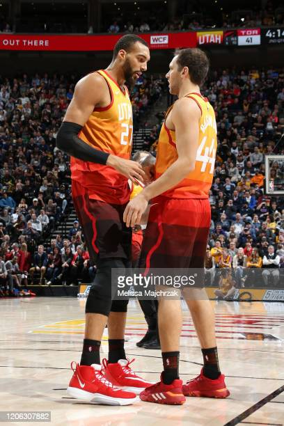 Rudy Gobert and Bojan Bogdanovic of the Utah Jazz share a conversation during the game against the Toronto Raptors on March 9 2020 at vivintSmartHome...