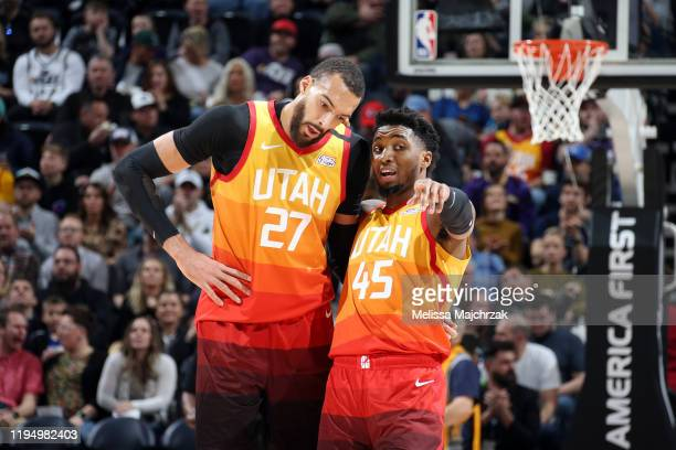 Rudy Gobert and Donovan Mitchell of the Utah Jazz talk during the game against the Indiana Pacers on January 20 2020 at vivintSmartHome Arena in Salt...