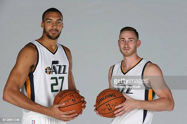 Rudy Gobert and Gordon Hayward of the Utah Jazz poses for a photo during the 20162017 Utah Jazz media day at Zions Bank Basketball Center on...