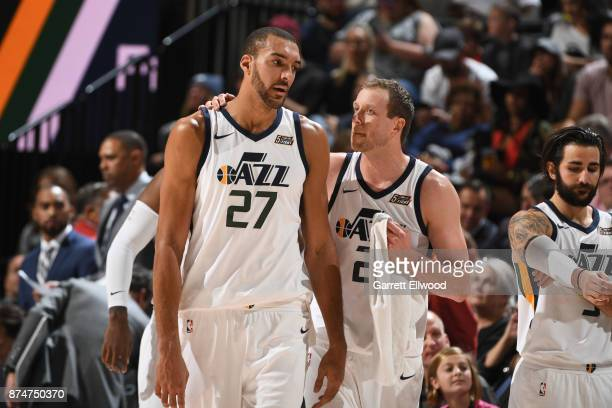 Rudy Gobert and Joe Ingles of the Utah Jazz speak during the game against the Denver Nuggets on October 18 2017 at vivintSmartHome Arena in Salt Lake...