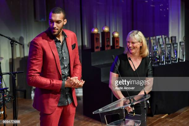 Rudy Gobert and Yannick Souvre during the Trophy Award LNB Basketball at Salle Gaveau on May 16 2018 in Paris France