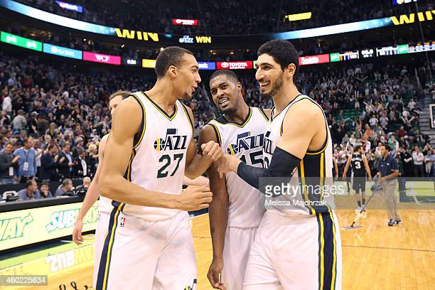 Rudy Gobert Derrick Favors and Enes Kanter of the Utah Jazz after the game against the San Antonio Spurs on December 9 2014 at EnergySolutions Arena...